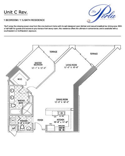 Floor plan 1BR-1.5BH la perla