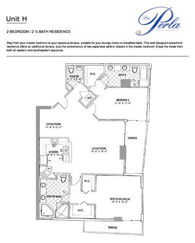 Floor plan H La Perla Sunny Isles