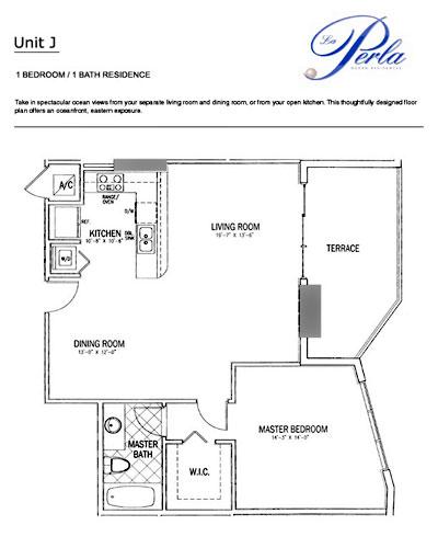 Floor plan la perla 1BR-1BH