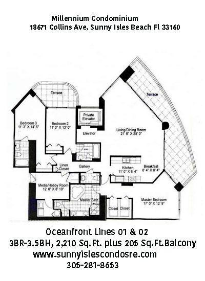 millennium Oceanview floor plans