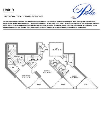 Floor plan 2BR+DEN-2.5 BH La Perla