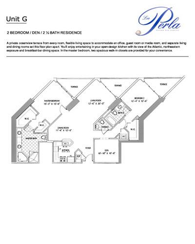 Floor plan G 2BR+DEN-2.5BH