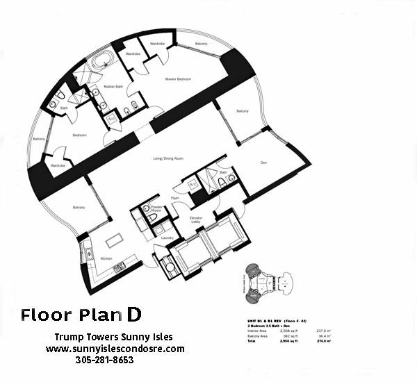 Trump Towers Floor Plan D1 & D1 Rev