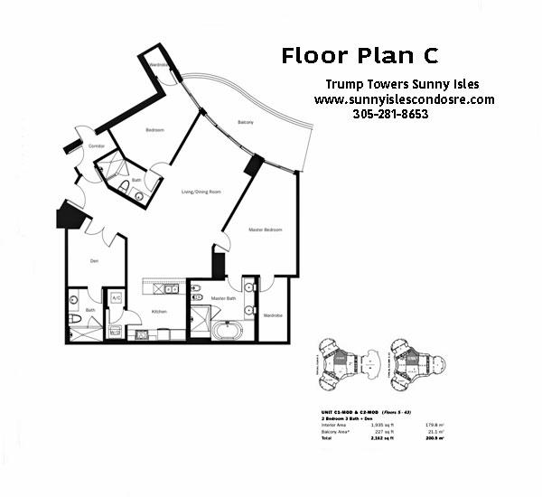 Trump Towers Floor Plan C1 & C2